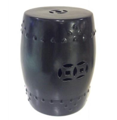 Ceramic Stool - Matt Black Coin