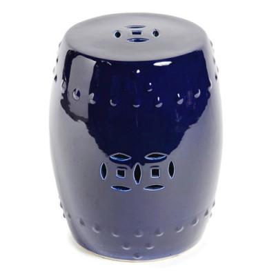 Ceramic Stool - Cobalt Blue Coin
