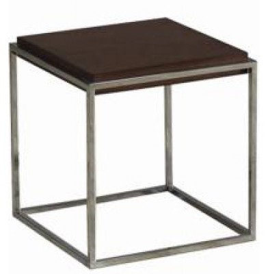 Kingsbury Side Table, brushed metal base walnut wood side table end table HK Hong Kong Home Essentials