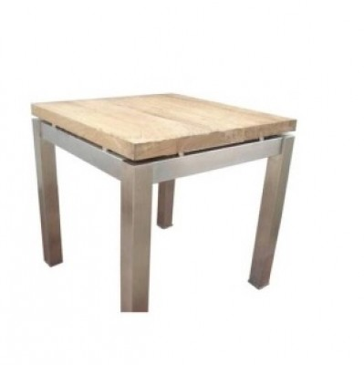 Stella End Table, reclaimed solid teak brushed metal base reclaimed teak end table HK Hong Kong Home Essentials