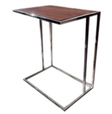 stainless steel side table walnut top hong kong modern design HK Home Essentials end table