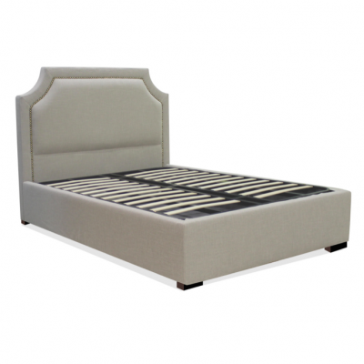 Gas Lift Storage Bed, Rivets, Metal Stud Headboard, Lincoln Park, Home Essentials, Hong Kong bed frames fabric headboard HK hydraulic beds