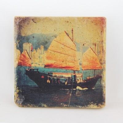 Sandstone Coaster Hong Kong Junk Boat