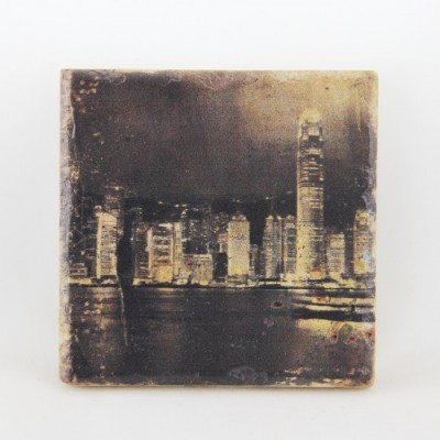 Sandstone Coaster Hong Kong Skyline
