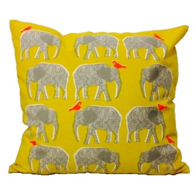 Yellow Elephant Cotton Cushion