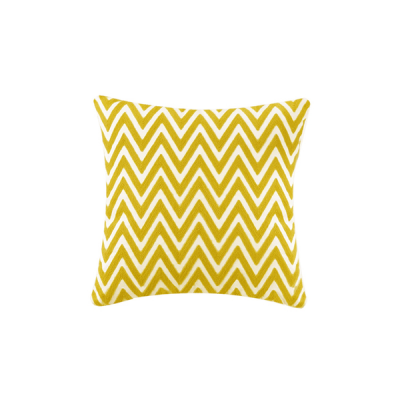 Chevron Knitted Cushion - Yellow