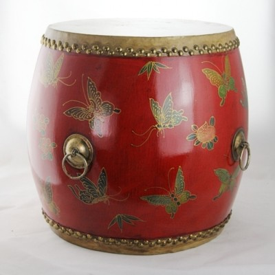 Drum - Red with Butterflies | dragon boat drums Chinese drums Hong Kong Home Essentials | decorative drum seats Chinese Hong Kong Home Essentials | wo