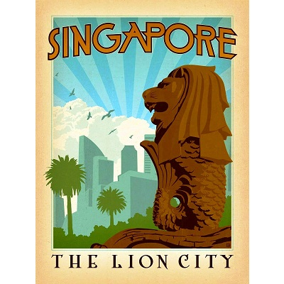 Singapore The Lion City Poster