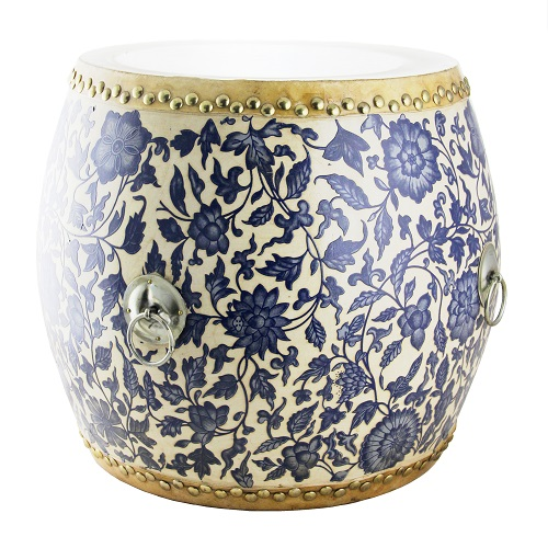 Drum Blue White Floral o Authentic Hand Made  : 24621p from www.homeessentials.com.hk size 500 x 500 jpeg 130kB