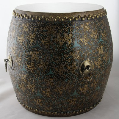 Drum - Turquoise Bronze | dragon boat drums Chinese drums Hong Kong Home Essentials | decorative drum seats Chinese Hong Kong Home Essentials | wood d