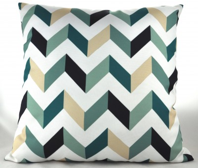 V Pattern Square Pillow - Green