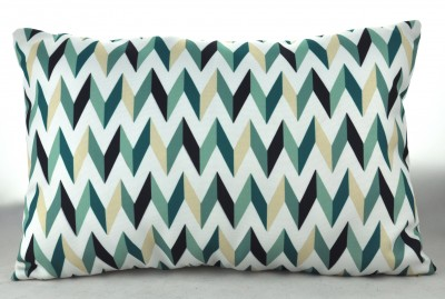 V Pattern Rectangle Pillow - Green