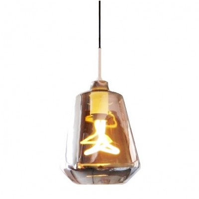 Glass Pendant Light with Swirl Bulb