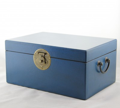 Large Leather Box - Blue | leather jewelry box Home Essentials Hong Kong gift storage box