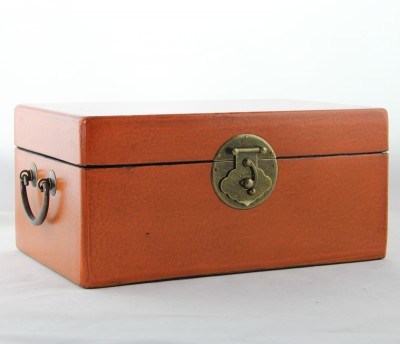 Large Leather Box - Orange | leather jewelry box Home Essentials Hong Kong gift storage box