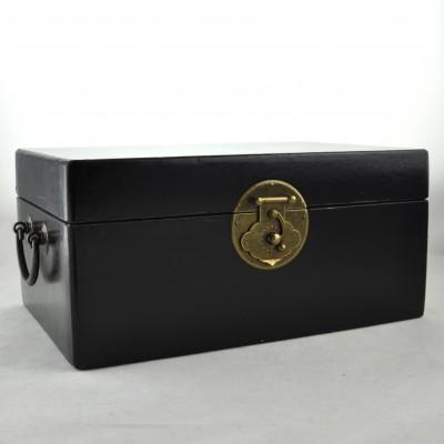 Medium Leather Box - Black | leather jewelry box Home Essentials Hong Kong gift storage box