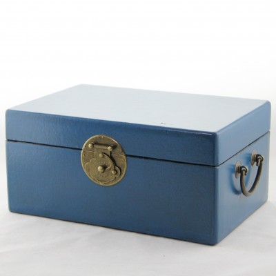 Medium Leather Box - Blue | leather jewelry box Home Essentials Hong Kong gift storage box