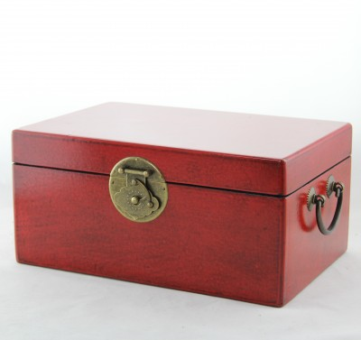 Medium Leather Trunk - Red | leather jewelry box Home Essentials Hong Kong gift storage box