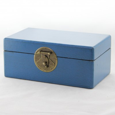 Small Leather Box - Blue | leather jewelry box Home Essentials Hong Kong gift storage box