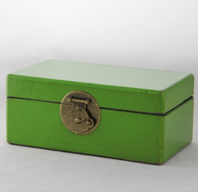 Small Leather Box - Green leather jewelry box Home Essentials Hong Kong gift storage box
