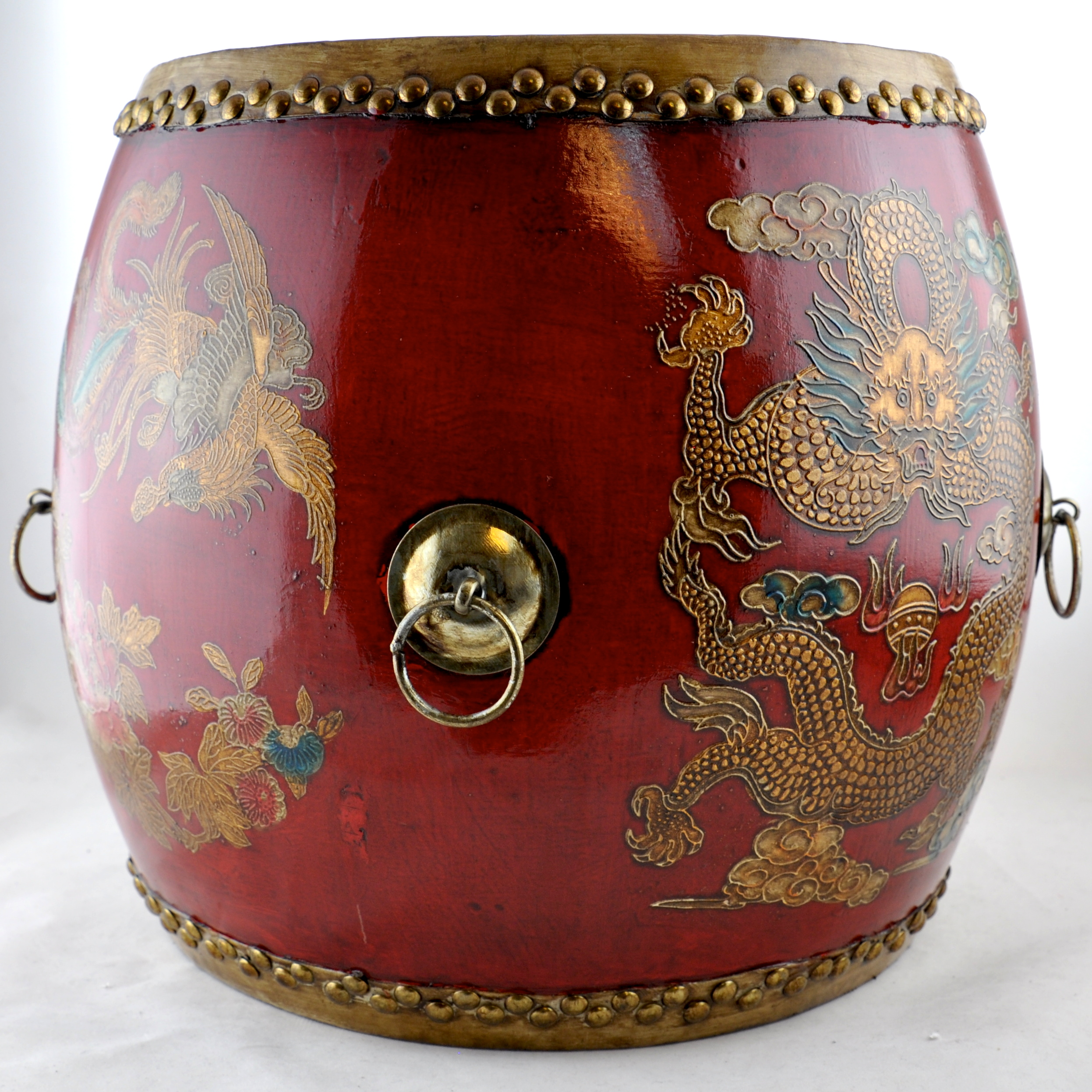 Chinese Drum Coffee Table: Drum - Red Dragon & Phoenix