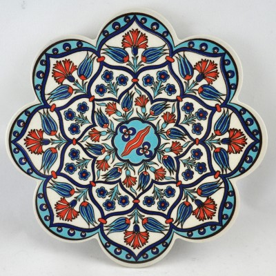Turkish Trivet - PN-97 | Blue & Red Small Thistles Floral
