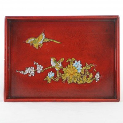 Tray - Red with Golden Birds and Flowers