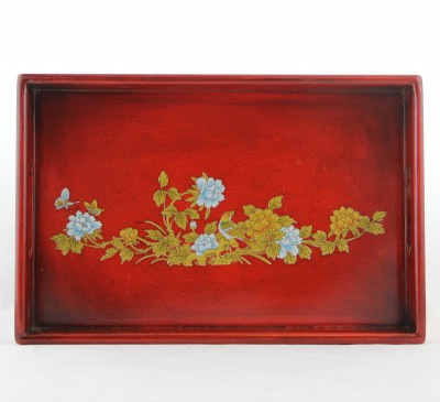 Tray - Red with Golden & Blue Birds and Flowers