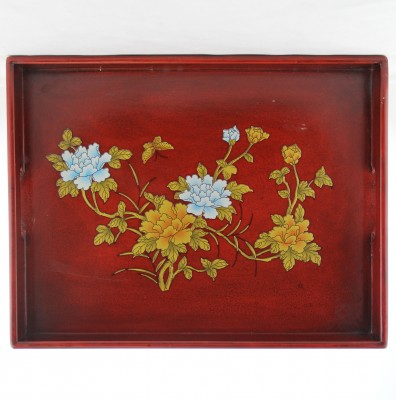 Tray - Red with Flowers