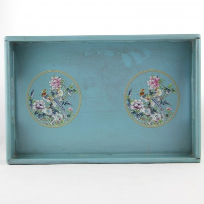 Tray - Pale Blue with Phoenix and Flowers  | Wooden Hand Painted Trays in Bright Colors Oriental Chinese Style Living Dining Home Deco Decor Hong Kong