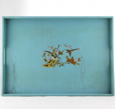 Tray - Pale Blue with Red Bird and Flowers
