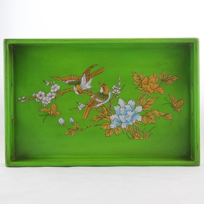 Tray - Green with Golden Bird and Flowers