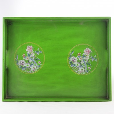 Tray - Green with Phoenix and Flowers