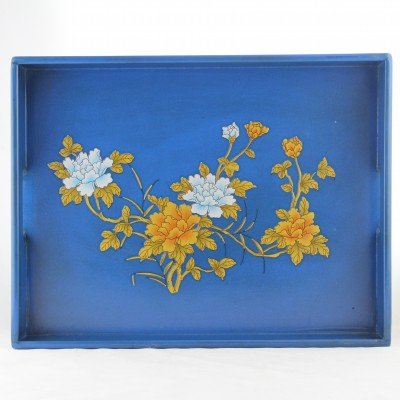 Tray - Blue with Golden Flowers | Chinese wooden tray antique vintage gift in Hong Kong HK Home Essentials