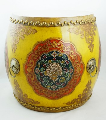 Drum Empire Dragon King China Ming Qing Ching Emperor  Seat authenic hand made colorful Chinese Drums in pop colors for end table or stool or home dec