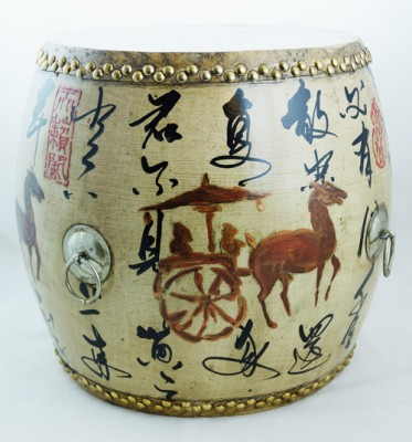 Drum China Ming Qing Ching Seat authenic hand made colorful Chinese China furniture pop colors stoolDrum China Ming Qing Ching Seat authenic hand made