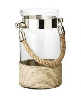 Rope handle glass lantern