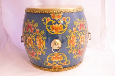 Blue w/ Gold Trim and Pink Floral Patterns Drum/Stool Hong Kong Home Essentials