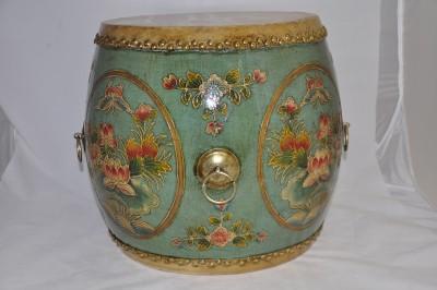 Blue w/ circular gold trim and pink lotus hong kong home essentials