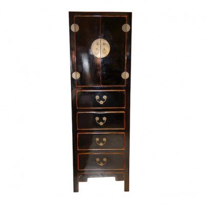 Black Chinese Tall Chest | Chinese Reproduction Furniture Hong Kong Home Essentials | Armoires Wardrobes Hong Kong Home Essentials | colorful Chinese