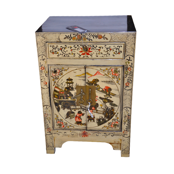 Black cabinet with gold chinese hong kong home for Oriental reproduction furniture