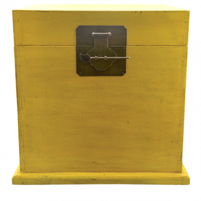 Yellow Trunk w/ Wooden Top | Chinese reproduction furniture Hong Kong Home Essentials Central HK | Antique Chinese furniture Hong Kong Home Essentials