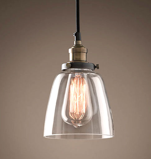 Clear Glass Pendant With Filament Bulb