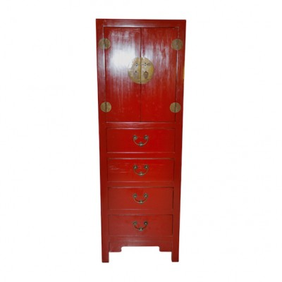 Peking Slim Cabinet Red Tall Chest | Chinese Reproduction Furniture Hong Kong Home Essentials | Armoires Wardrobes Hong Kong Home Essentials | colorfu