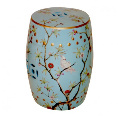 Ceramic Bird Stool - Blue | Chinese Coin Stool Ceramic Stool with pattern Hong Kong Home Essentials | Stool with painted birds and nature HK Home Esse