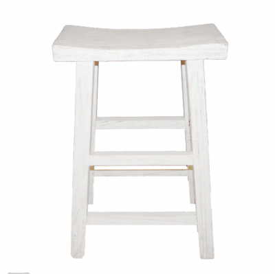 Wooden Bar Stool -  White