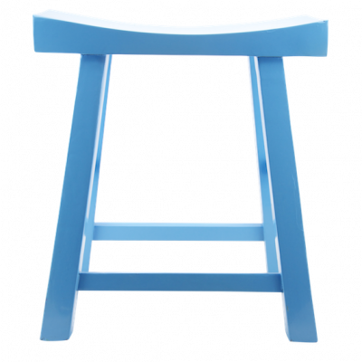 Low Wooden Stool - Blue | Chinese stool table stool bar stool quality Chinese reproduction furniture Hong Kong Home Essentials HK