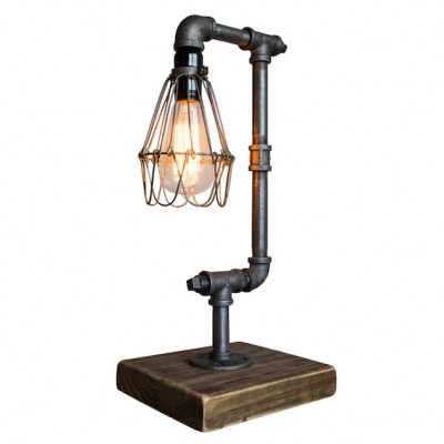 Pipe Table Lamp with cage | Industrial pipe lamps for table tops at Hong Kong furniture store Home Essentials in Central HK