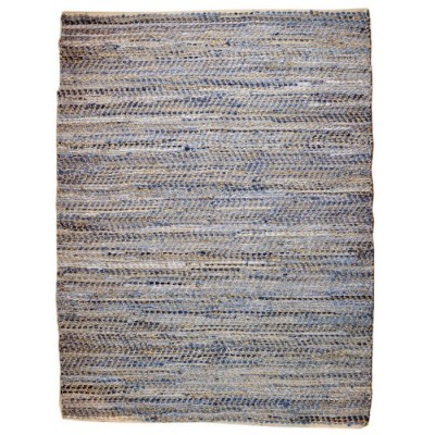 recycled leather denim jute rug | all natural leather rugs Hong Kong Home Essentials Central HK |