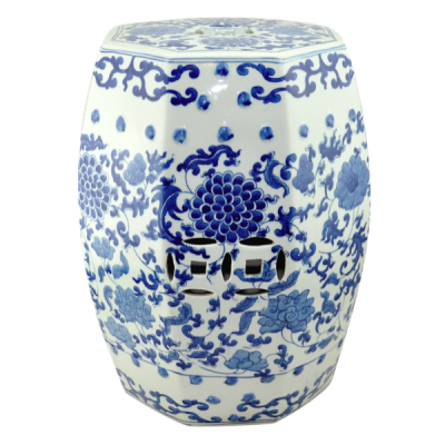 Ceramic stool Hexagon - Blue White Peony | Chinese ceramic coin stools Hong Kong Home Essentials color variety bar stools HK | Vintage Chinese pattern